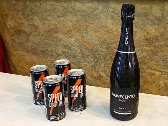 Promo 20 - Champagne Novecento 750 ml + 4 energizantes Speed