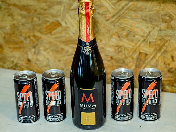 Promo 22 - Champagne Mumm 750 ml + 4 energizantes Speed