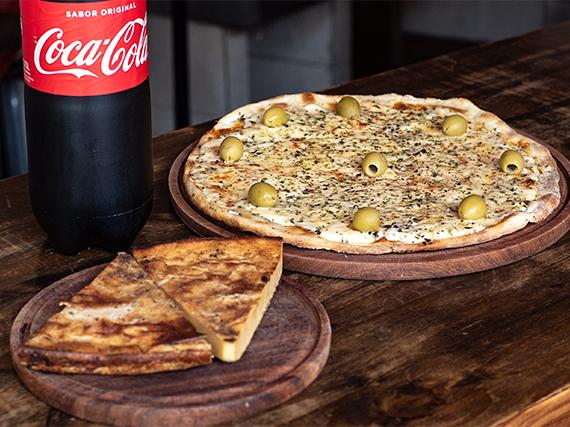 Promo noche - Pizza grande mozzarella + 2 fainá + bebida 1.5 L