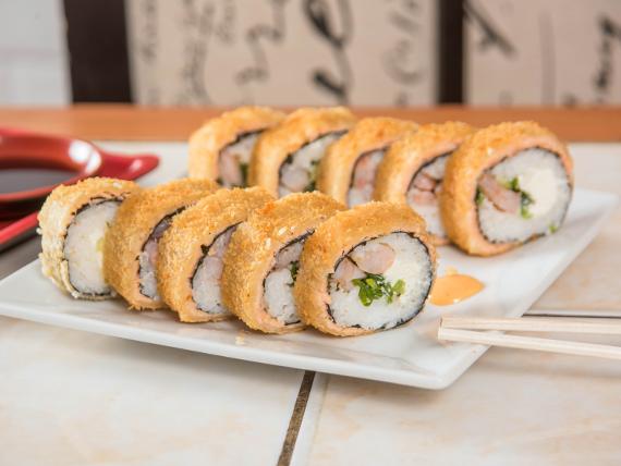 Sake furay roll (8 piezas)