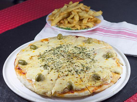 Promo 12 - Pizza muzzarella + papas fritas + gaseosa 1 L