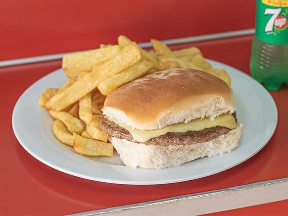 Promo - Hamburguesa grande con queso + papas + gaseosa 250 ml