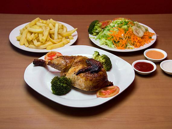 1/2 pollo a la brasa + papas fritas + ensalada