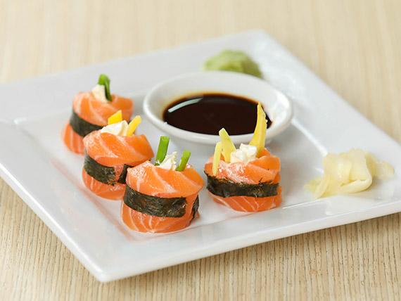 Geisha de salmón, queso y ciboulette (4 piezas)