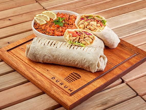 Promo 4 - 2 shawarmas XL de ternera o pollo (500 gr. c/u) + ensalada tabule