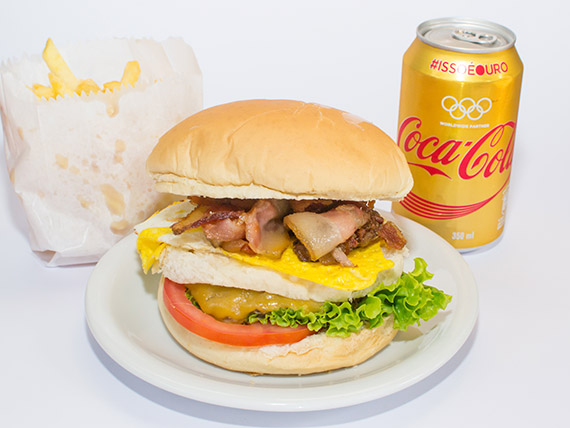 Combo 182 - X-egg bacon + point fritas + refrigerante 350 ml