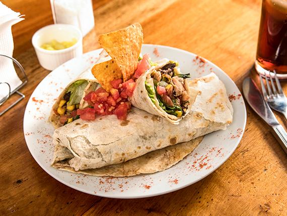 Burrito de carne y camarones