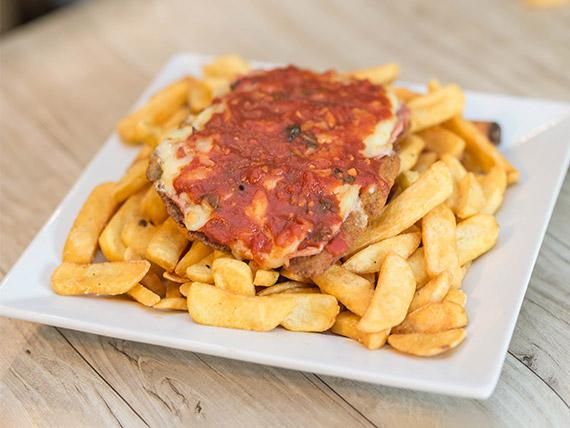 Mila napolitana + papas  fritas