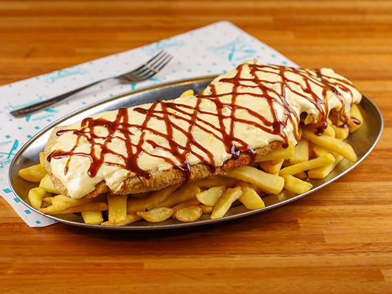 Mila 4 quesos + fritas rústicas
