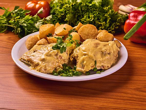 Medio pollo al horno a la mostaza con acompañamiento
