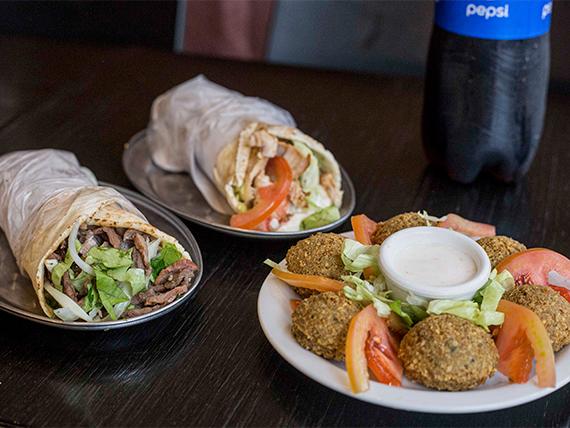 Promo 4 - 2 shawarmas + falafel al plato + gaseosa 1.5 L