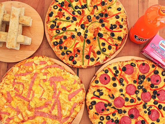 Promo 4 - 3 pizzas familiares + bebida 1.5 L + helado Charlot 1 L