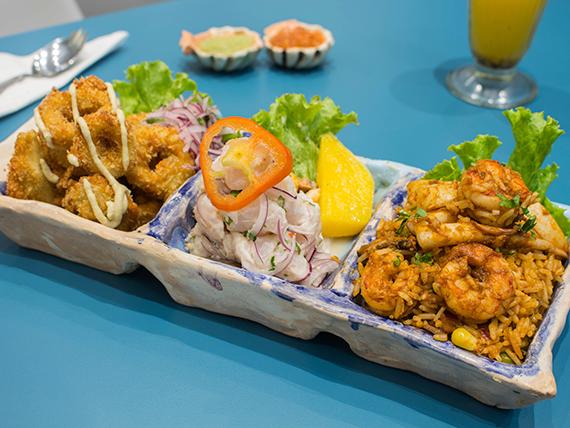 Piqueo barrunto - Ceviche bacan + chicharrón  de calamar + arroz con mariscos