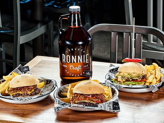 Promo Ronnie rocks - 3 hamburguesas a elección + growler 1.9 L con cerveza a elección