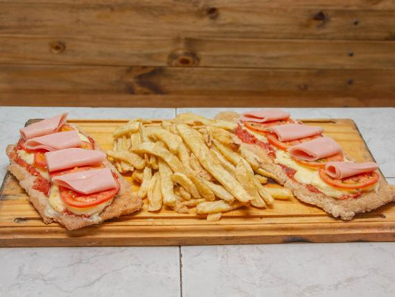 Suprema napolitana y jamón con papas fritas (para 2 personas)