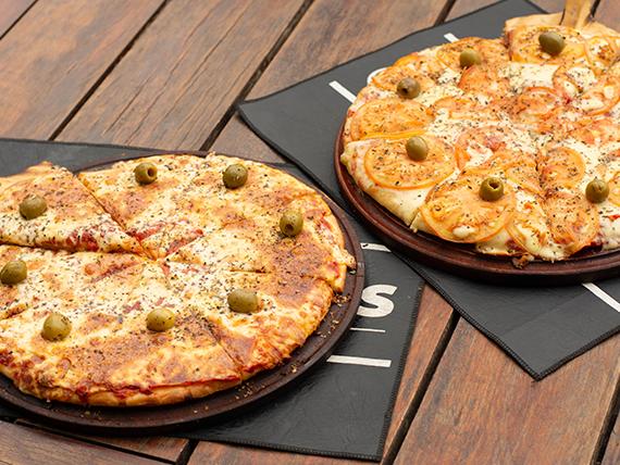 Promo Compartir - Pizza napolitana grande + pizza mozzarella grande