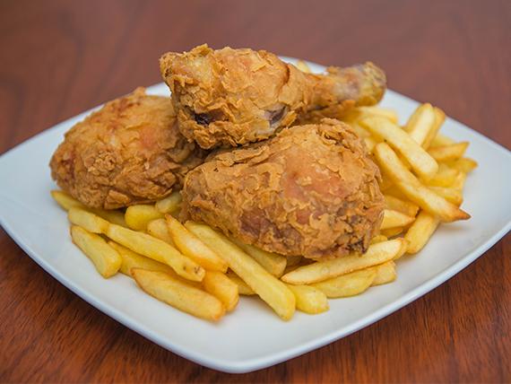Pollo frito Individual- 3 piezas de pollo + Salsa + guarnición