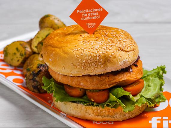 Emparedado salmón burger