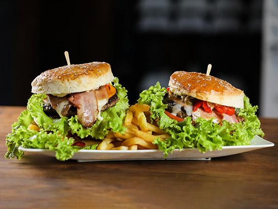 Promo 4 - 2 hamburguesas caseras con fritas + Pepsi 1.25 L