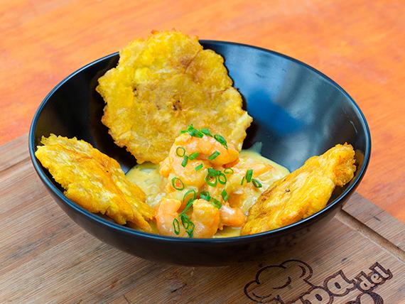 Ceviche gourmet de camarones con chips