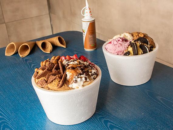 Promo Sweet Honey - 2 kg de helado + salsa pequeña de 450 gr + 4 cucuruchos + topping a elección