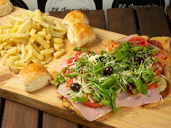 Milanesa liviana con papas fritas