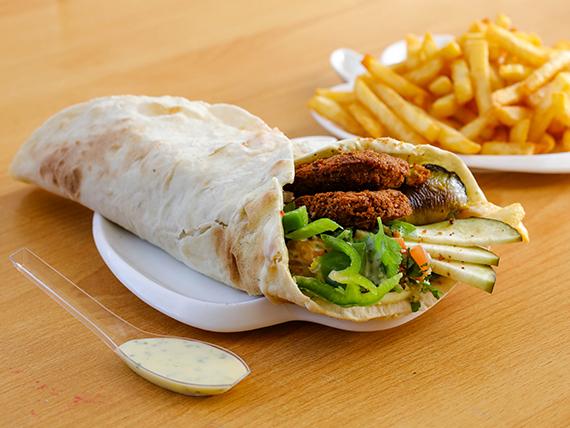 Shawarma vegano falafel con guarnición a elección