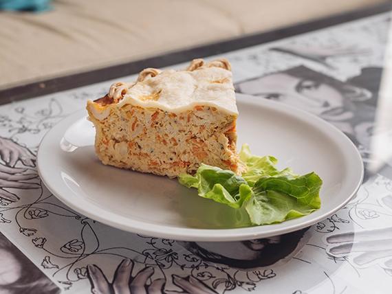Tarta de pollo zanahoria y queso