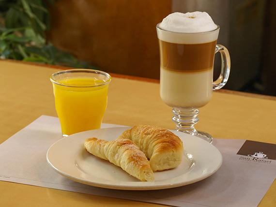 Promo desayuno - Capuchino + jugo de naranja + 2 bizcochos