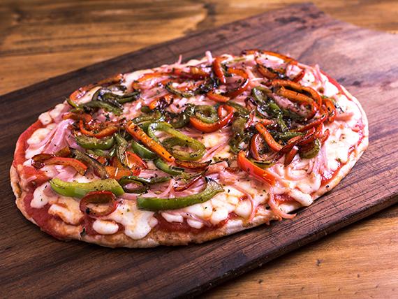 4 - Pizza muzzarella, jamón y morrones (4 porciones)