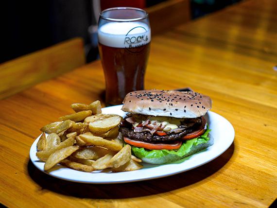 Combo punk - Hamburguesa Rock & Burger + papas fritas + cerveza artesanal Lather 500 ml