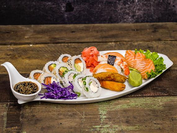 Combinado de salmón y langostinos - 15 piezas