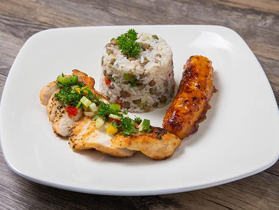 Pollo al horno + arroz con lentejas + plátano en tentación