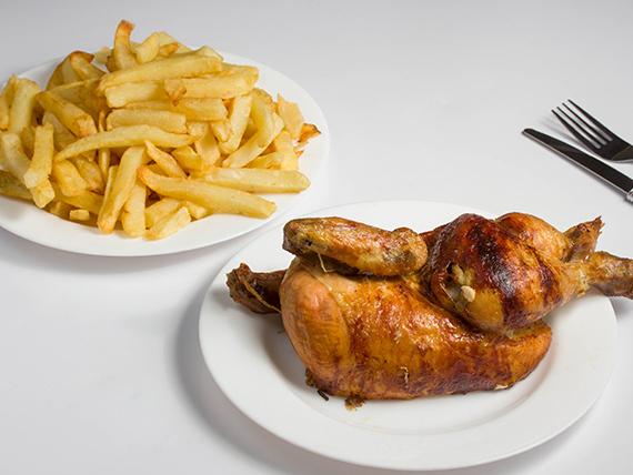 Combo - 1/2 pollo + papas (porción grande)
