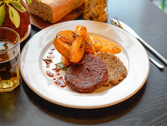 Veggie de lentejas y batatas con guarnición (vegan + sin tacc)