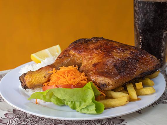 1 - Pollo al horno con papas fritas, ensalada y arroz + gaseosa o agua saborizada 600 ml