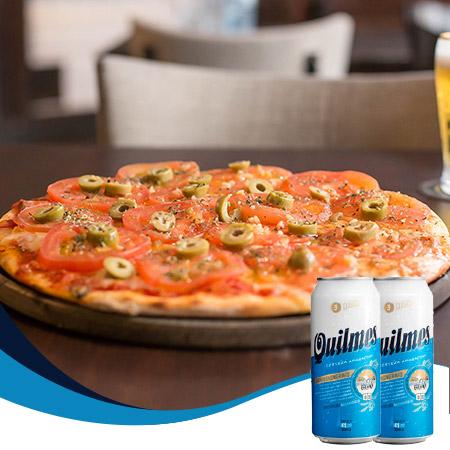 Combo Quilmes - Pizza napolitana (6 porciones) + 2 cervezas Quilmes 473 ml