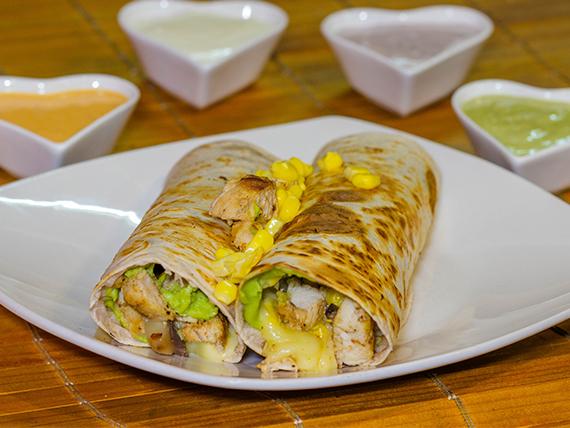 Burrito + 4 ingredientes + salsa (2 unidades)
