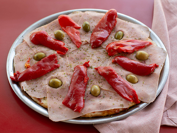 Pizza con jamón y morrón individual