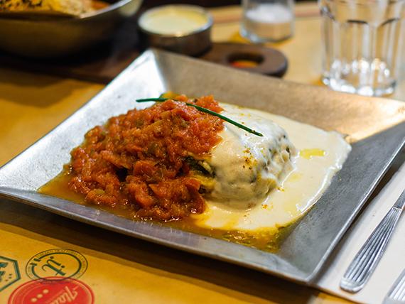 Lasagna de ternera, muzzarella y vegetales
