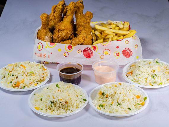Combo Piernuditas - 8 piernas + 4 porciones de arroz + 3 porciones de papas o 2 ensaladas