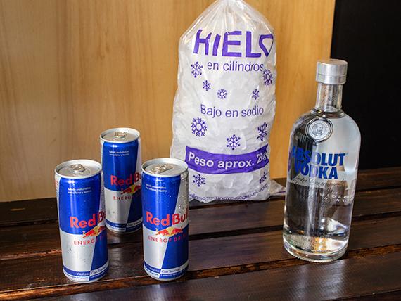 Combo 9 - Vodka Absolut 750 ml + 3 energizantes Red Bull + hielo 2 kg