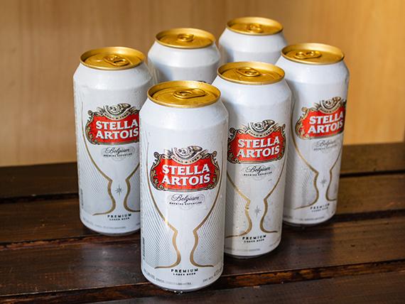 Combo 4 - 6 cervezas Stella Artois en lata 473 ml