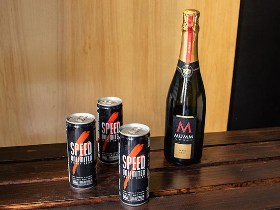 Combo 10 - Champagne Mumm extra brut 750 ml + 3 energizantes Speed