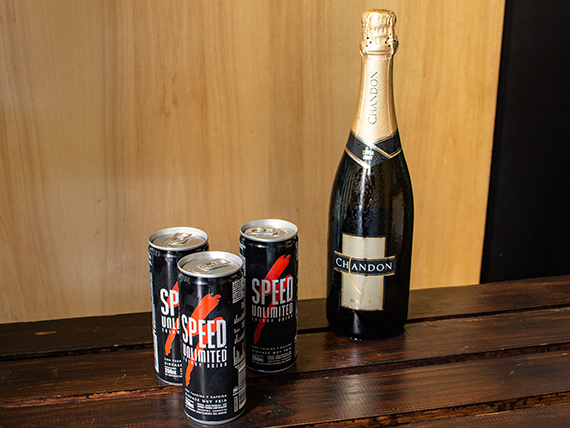 Combo 11 - Champagne Chandon extra brut 750 ml + 3 energizantes Speed