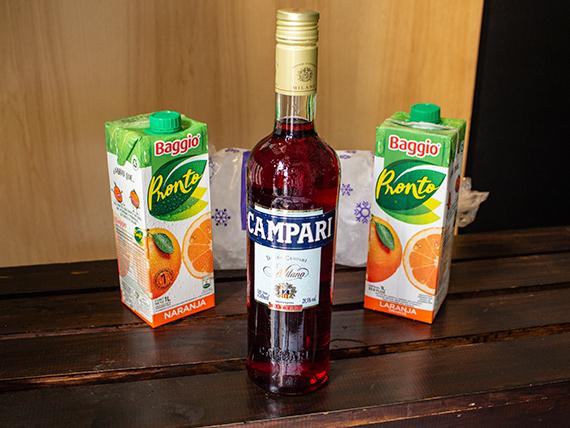 Combo 6 - Campari 750 ml + 2 jugos Baggio 1 L + hielo 2 kg