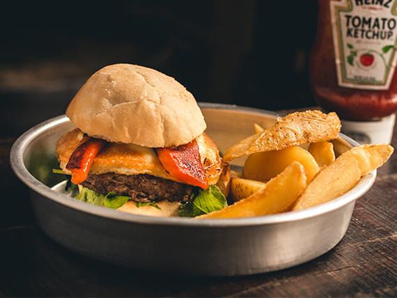 Craft burger + papas rústicas