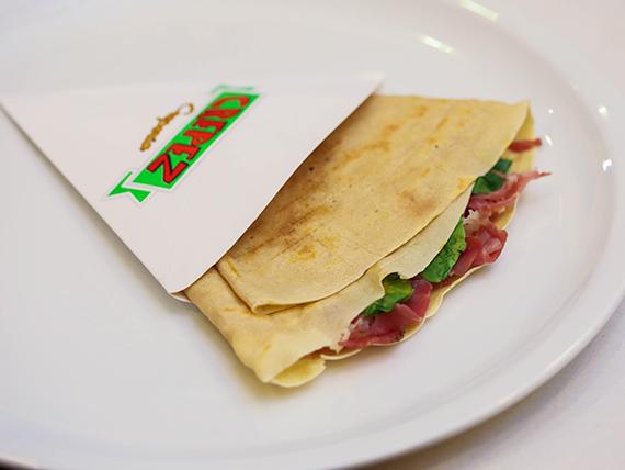7 - Crepe con bondiola, rúcula, mozzarella y mostaza