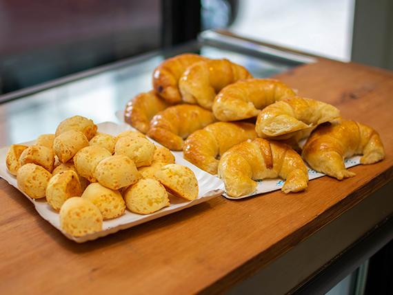 Combo merienda - 12 medialunas + 250 g de chipá extra queso
