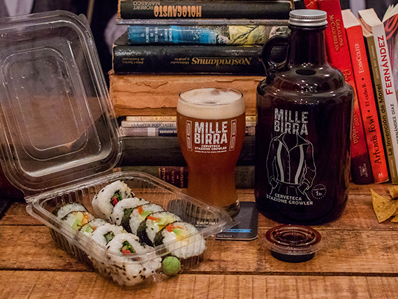 Sushi veggie (10 piezas) + cerveza tirada 1 L